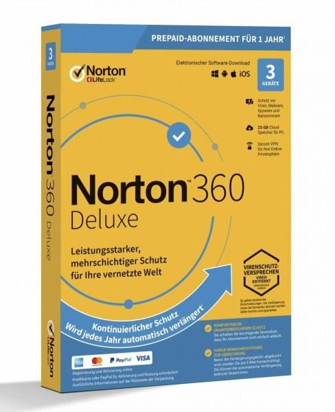 Norton 360 Deluxe, 25 GB Cloud-Backup, 3 Geräte 1 Jahr Windows