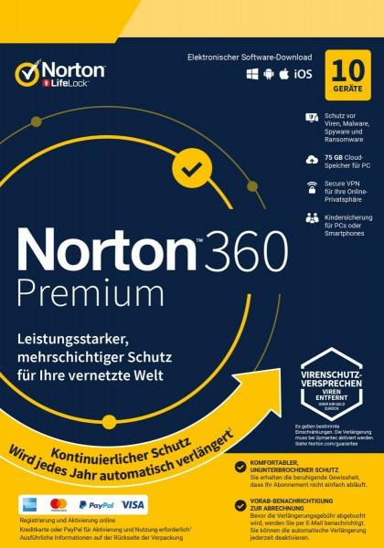 Norton 360 Premium, 75 GB Cloud-Backup, 10 Geräte 1 Jahr KEIN ABO