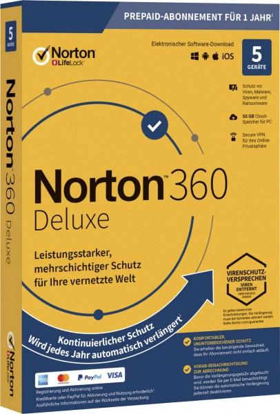 Norton 360 Deluxe, 50 GB Cloud-Backup, 5 Geräte 1 Jahr