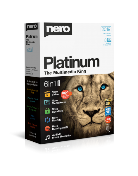 Nero 2019 Platinum Suite, Vollversion, Brennprogramm